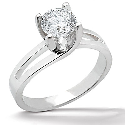 1.25 Carat diamond solitaire engagement ring white gold