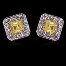2 ct. fancy yellow diamonds stud earrings emerald cut