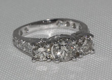 2.75 carat diamonds 3 stone engagement ring white gold