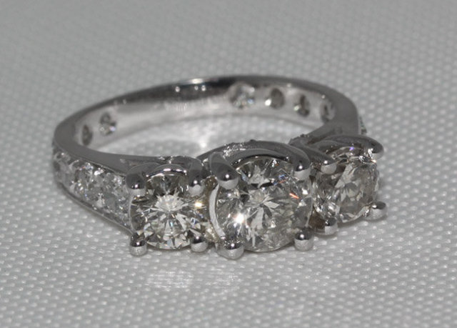 2.75 carat diamonds 3 stone engagement ring white gold