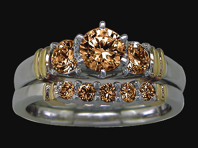 Champagne diamonds 3.25 carat engagement ring band set