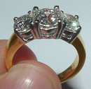 2 carat round diamonds 3 stone engagement ring gold new