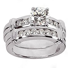 1.65 Ct. Diamonds engagement ring & band set gold ring