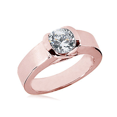 Pink gold diamond solitaire engagement ring 1.51 carat