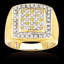 3 carat fancy yellow diamonds men's ring two tone gold