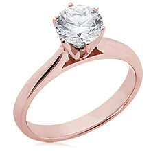 Diamond 1.50 ct. solitaire wedding ring pink gold