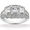 F VS1 diamond three stone engagement ring gold 2.61 ct.