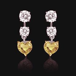 4 ct. yellow diamonds canary heart hanging earrings new