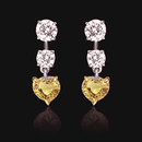 4 ct. yellow diamonds canary heart hanging earrings new