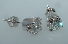 F VS1 2.51 carats DIAMOND STUDS EARRING studs earrings