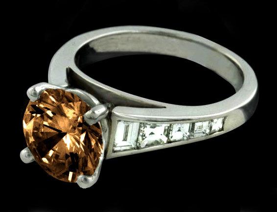 2.75 ct. champagne & white diamonds engagement ring