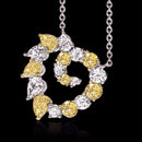 Yellow canary white diamonds 6 ct. heart pendant chain
