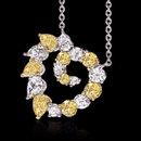 Yellow canary white diamonds 6 ct. heart pendant chain