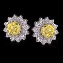 2 carats jacket earrings yellow canary diamond studs