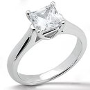 E VVS1 diamond solitaire ring 1.0 CT. princess cut gold