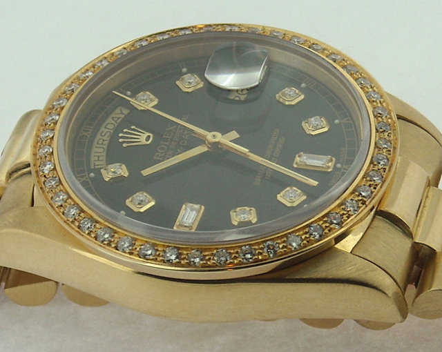 Rolex President watch 18K yellow gold diamonds mint