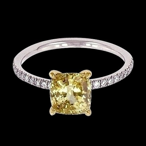 4.35 carat yellow canary & white diamonds wedding ring