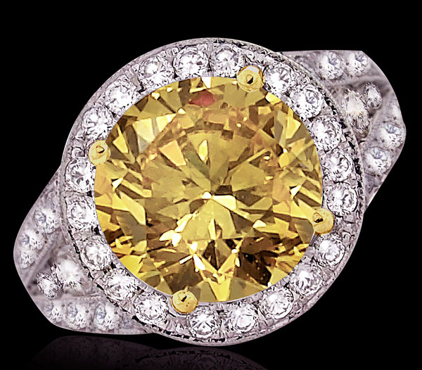 4.51 cts. Big yellow canary diamonds ring engagement