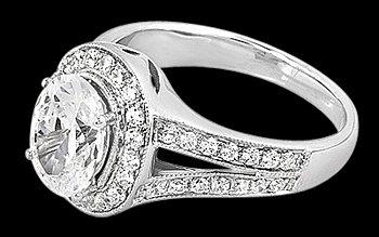 Oval diamond engagement ring split shank ring 2.76 cts.