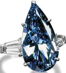 3.41 ct. blue pear diamond engagement ring 5 prong set