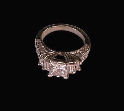 4 ct. diamonds princess & baguettes engagement ring new