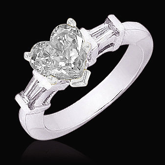 Heart cut diamond 2.51 carat ring three stone jewelry