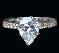 1.65 carats PEAR PAVE DIAMOND RING solitaire accented
