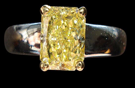 1.75 ct. yellow canary radiant diamond solitaire ring