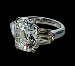 2.41 ct. cushion center diamond royal engagement ring