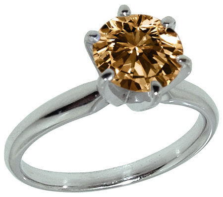 Champagne diamond jewelry ring solitaire 1.25 carat