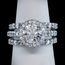 4 carat halo diamonds ring 3 row engagement ring new