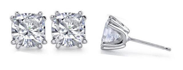 1.50 ct. cushion diamond studs earrings white gold new