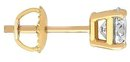 Yellow gold 1 ct. single diamond men's stud earring