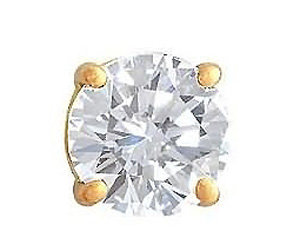 Yellow gold 1 ct. single diamond men's stud earring