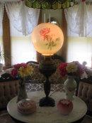 LG. BRADLEY AND HUBBARD ROSES LAMP