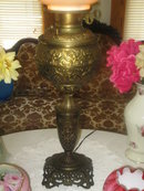 LG. BRADLEY AND HUBBARD ROSES LAMP