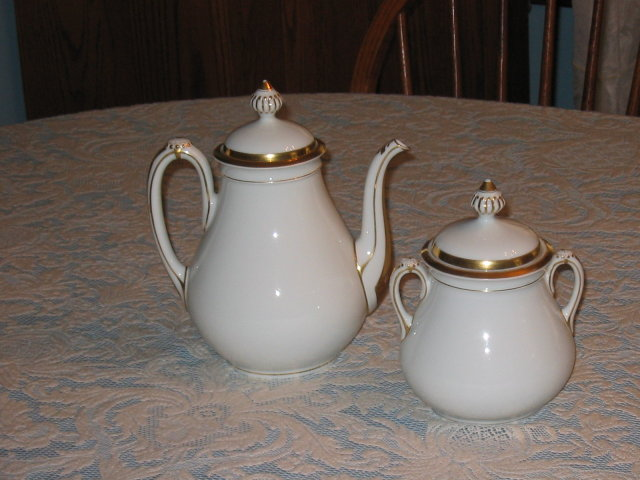 HAVILAND LIMOGES TEAPOT AND SUGAR BOWL