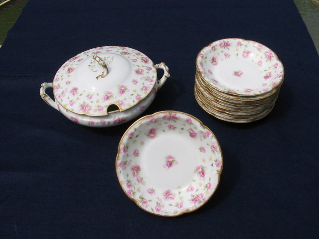 LIMOGES SOUP TUREEN AND BOWL SET
