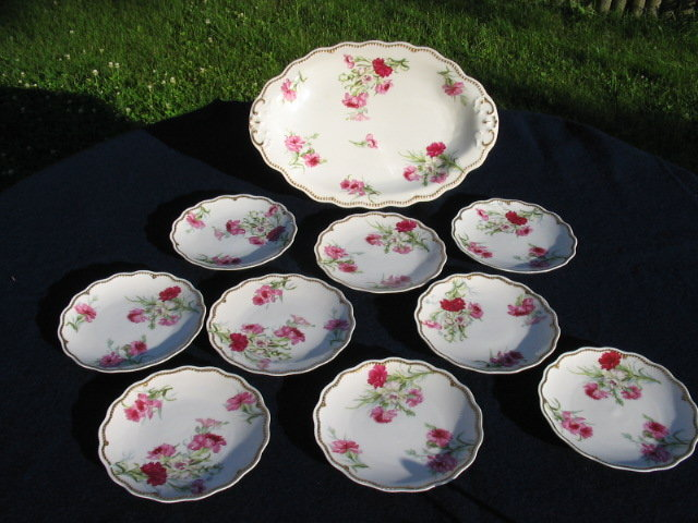 EARLY LIMOGES PINK ROSES  ICE CREAM SET