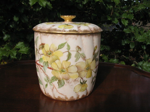 EARLY LIMOGES H. PAINTED BISCUIT JAR
