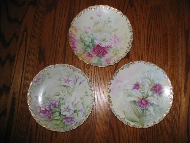 EARLY LIMOGES H. PAINTED. CAKE SET