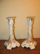 H. PAINTED J.P. LIMOGES CANDLESTICKS