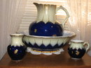 FLOW BLUE STAFFORDSHIRE WASH SET