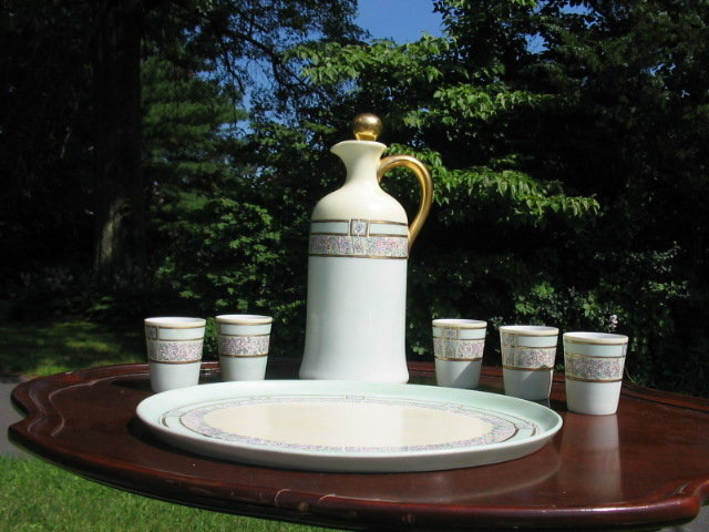 ANTIQUE H.P. LIMOGES LIQUOR SET