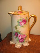 HAND PAINTED  LIMOGES CHOC. POT