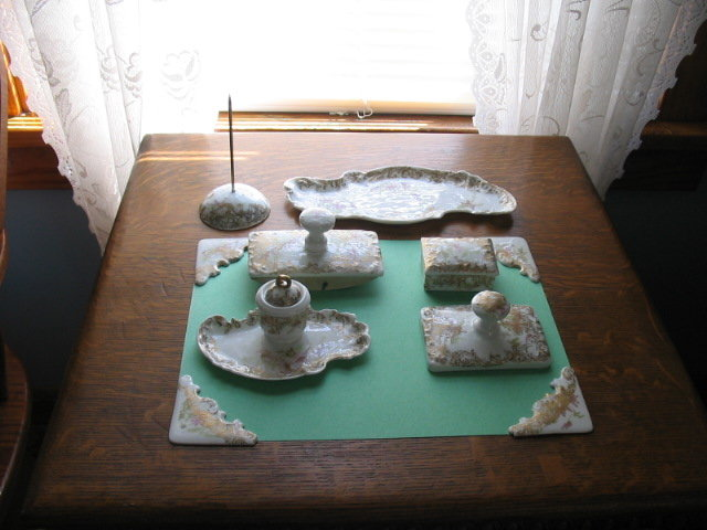 RARE  LIMOGES  H.PAINTED  DESK SET