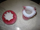 2 PINK QUILTED SATIN GLASS VASES