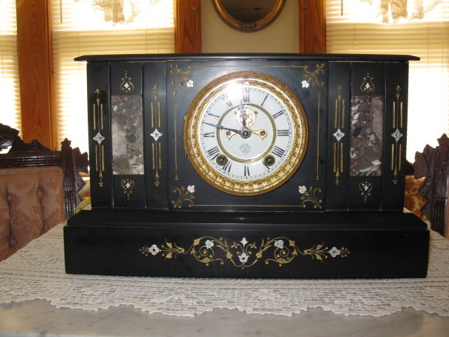 ANSONIA BLACK  MARBLE CLOCK
