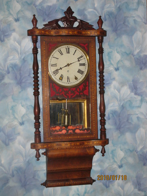 WATERBURY ANGLO INLAID WALL CLOCK