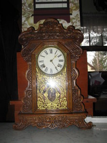 antique waterbury oak shelf clock